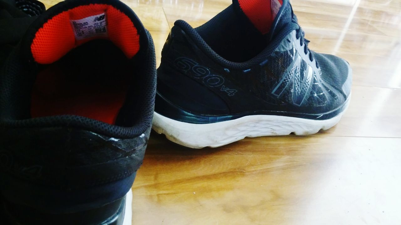indoors, pair, shoe, high angle view, no people, hardwood floor, day, close-up