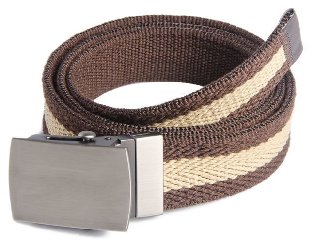 Close-up of belt against white background