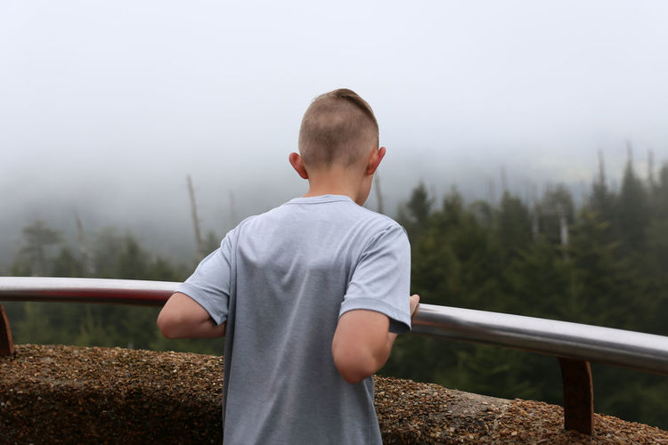 Boy looking out