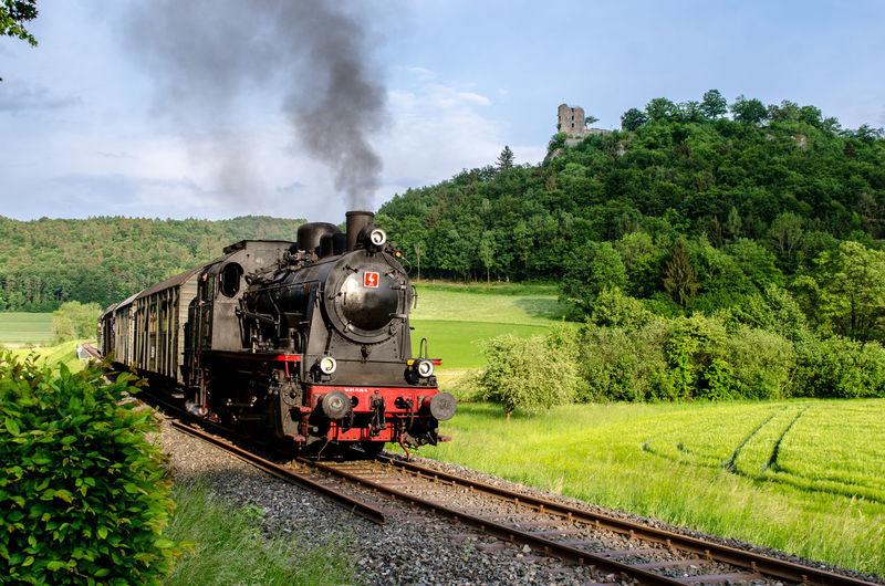 Locomotive Steam Train Tree Train - Vehicle Steam Railroad Track Rail Transportation Old-fashioned Smoke - Physical Structure Sky