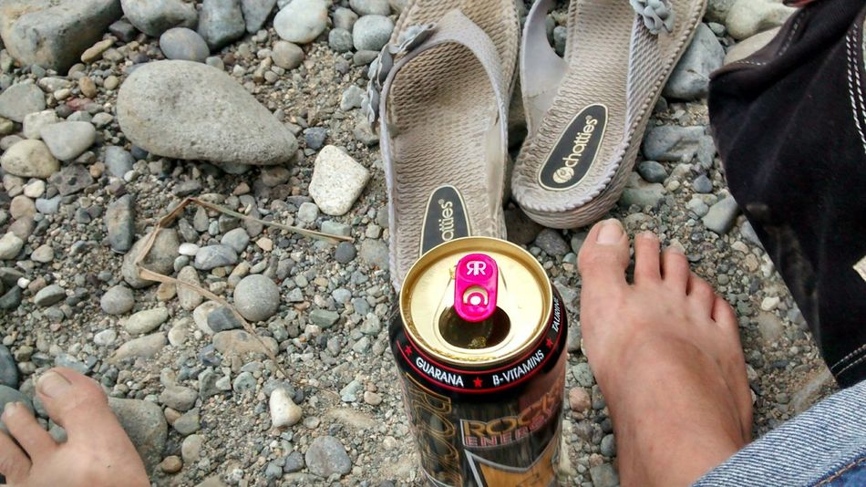 Feet In The Sand with my sandles and favorite drink Barefoot