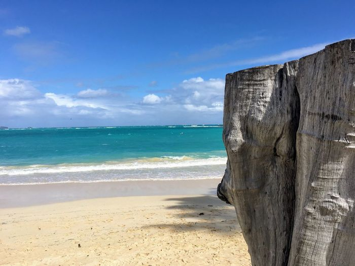 Beach stump Sea Beach Sky Horizon Over Water Nature Sand Scenics Beauty In Nature Water Day Tranquility Outdoors Tranquil Scene Cloud - Sky Sunlight No People Blue