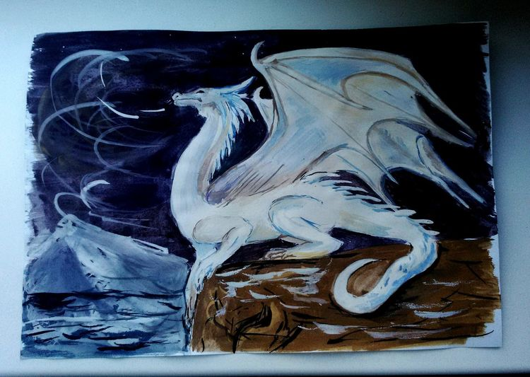 Dragonlance Dragon White Ice Drawing