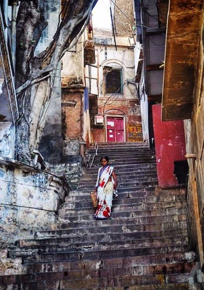 Varanasi Varanasi India Varanasidiaries Varanasi Ghats Varanasi Ganges Varanasi_igers Woman Stairs Saree Holy Place Holycity India Indiapictures India_clicks Indian Culture  Steps Outdoors Architecture Built Structure Day