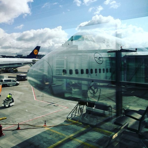 Reflections Window View Boing 747 Jumbojet Airport Frankfurt Am Main Fraport