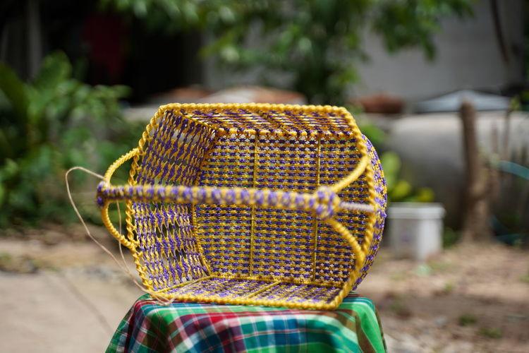 Close-up rear view of multi colored umbrella