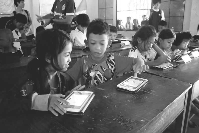 Orphan & Tablet Orphan Cambodia Phnompenh Education Student Learning Indoors  Classroom Girls Sitting People Child first eyeem photo