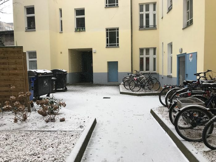 Bikes Snowing Architecture Building Exterior Built Structure Window No People Day Outdoors