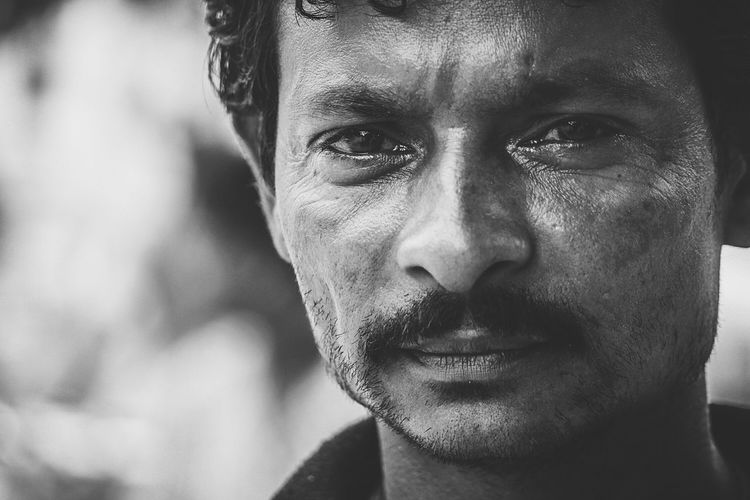 Black And White Portrait Dreaming Face Young Man Monochrome Street Portrait It's A Hard Life