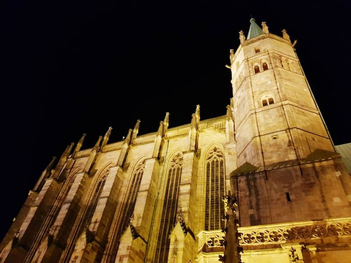 Cathedral in black Erfurt Erfurter Dom Erfurt Domplatz Cathedral Cathedral Church Architecture Night Light Light And Shadow Politics And Government City Illuminated Religion Government Architecture Building Exterior Built Structure Sky