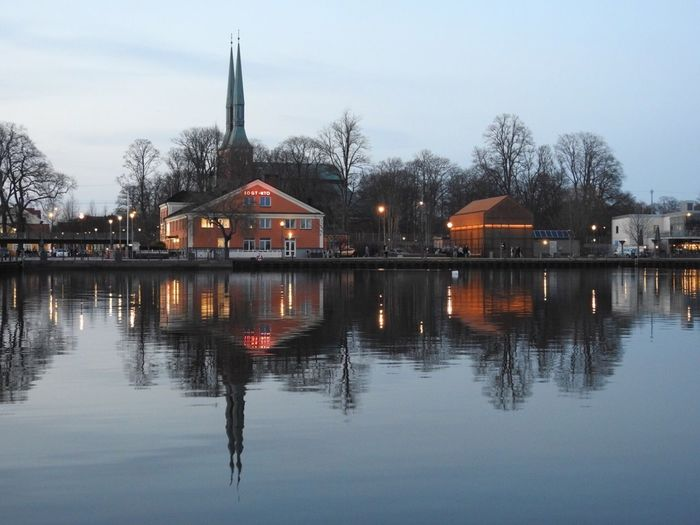 Sweden Växjö  Reflection Water Tree Waterfront Sky Built Structure No People Building Exterior Nature Lake Outdoors Architecture Day
