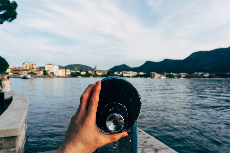 Coin-Operated Binoculars Against Como Lake