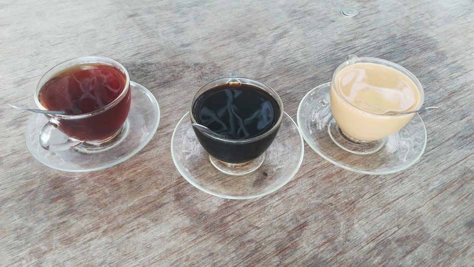 Table High Angle View Drink Coffee Tea Milk Tea Milkcoffee HotCup☕️ Quality Time Kuching Sarawak