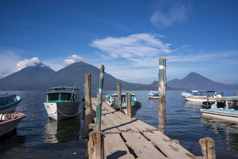 Authentic Authentic Moments Blue Sky Boat Calm Guatemala Lago Atitlán Lake Liberty Mayan Moored Nautical Vessel Peace And Love Peace And Quiet Pier Public Transportation Real Life Reflection San Antonio Palopo Tranquil Scene Tranquility Transportation Volcano Water Waterfront