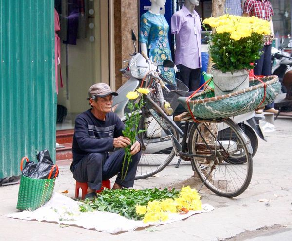 Hanoi Florist Ba Dinh, Vietnam Side Of The Road Making A Living Hanoi, Vietnam Selling Flowers Flower Seller Flowers Bicycle Vietnam Street Photography