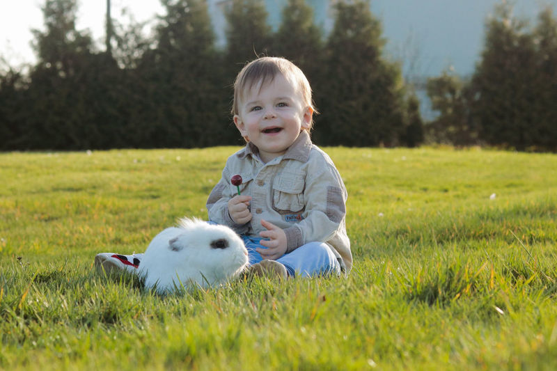Portrait of cute, smiling baby boy with a white fluffy bunny on field