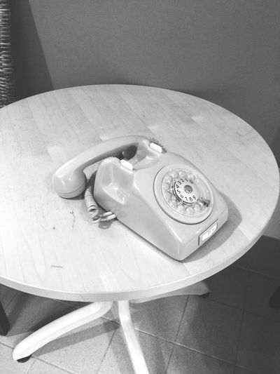 Retro, back to basics Table Technology Old-fashioned Telephone Receiver Close-up Indoors  No People High Angle View Day Lo-tech First Eyeem Photo