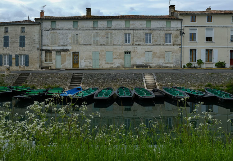 Architecture Building Building Exterior Built Structure Canal Cloud - Sky Day Deuxsevres Flower Flowering Plant Grass Maraispoitevin Nature No People Outdoors Plant Reflection Residential District Side By Side Sky Water Window