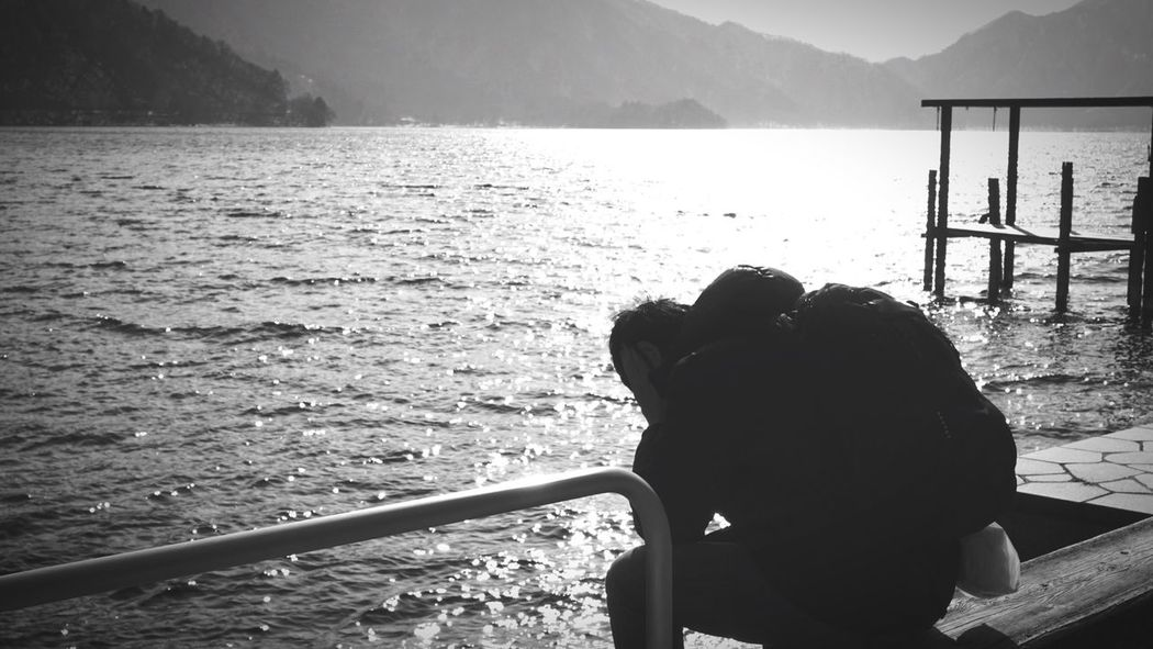 Tourist Lost Escape Hide Feeling Down Hard Times Mistake Apologize Gone Fell Upset Crazy Insane Man Feeling And Mood Blackandwhite Missing Way Out Give Up Lake View Sit And Thinking Sorry Emotional Photography Touching Feeling Blue