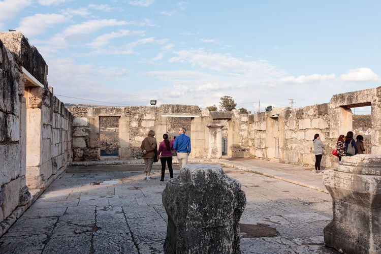 Remains of the White Synagogue in Capernaum (Cafarnaum). Ancient Antique Archeological Architecture Capernaum Christianity Day Galilee History Holy Israel Jesus Kafarnaum Landmark Old Outdoors Reconstruction Religion Remains Ruin Stone Synagogue Temple Tiberias White