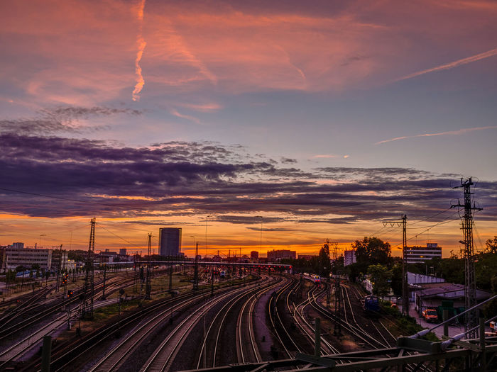 Railroad Tracks Against Sky During Sunset