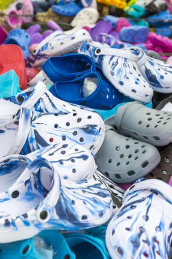 Colorful shoes Abbundance, Backgrounds Business Business Finance And Industry Choice Close-up Colorful Day Full Frame Large Group Of Objects Many Market Market Stall No People Outdoors Part Of Pattern Plastic Sandal Shoe Shoes Stack Variation