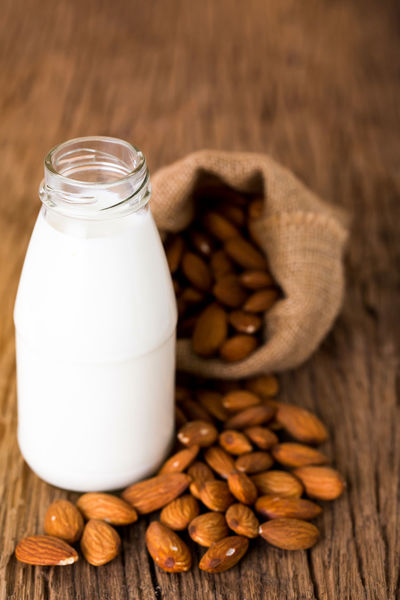 almond milk Seed Almond Bottle Close-up Food Food And Drink Freshness Milk No People Nut - Food Sackcloth White