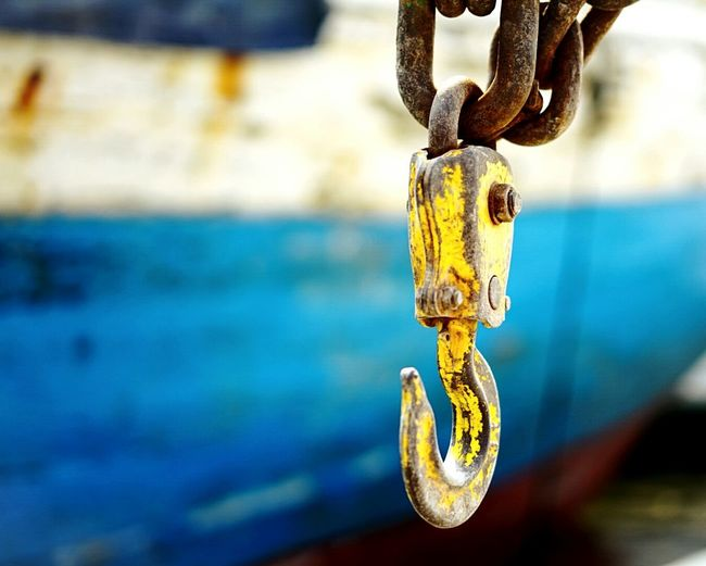 Hanging Chain Outdoors Rusty Harbor Sailing Ship Focus On Foreground Close-up Day No People Strength Nautical Vessel Rope Moored Water Blue First Eyeem Photo Paint The Town Yellow