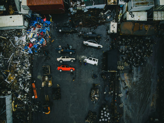 High Angle View Of Abandoned Cars In City