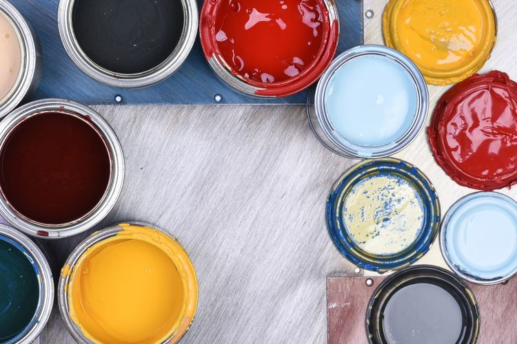 Colorful paint cans top view Paint Can Colorful Liquid Decoration Container Design Metal Pigment Palette Creative Renovation Abstract Colourful Acrylic Decorate Top View Directly Above Tool Used Circle Mixing