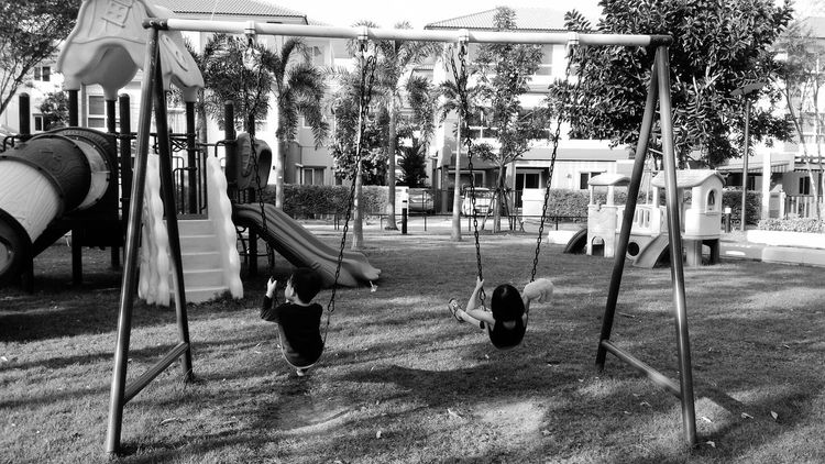 Outdoors Playground Outdoor Play Equipment Swing Day The Way Forward Backgrounds EyeEm Kids Eyeem Kids Photography Blackandwhite Black And White Black & White Black And White Photography Noir Et Blanc Noir&blanc