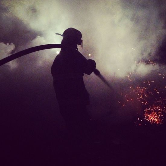 A picture I took of my brother working a Structure Fire!