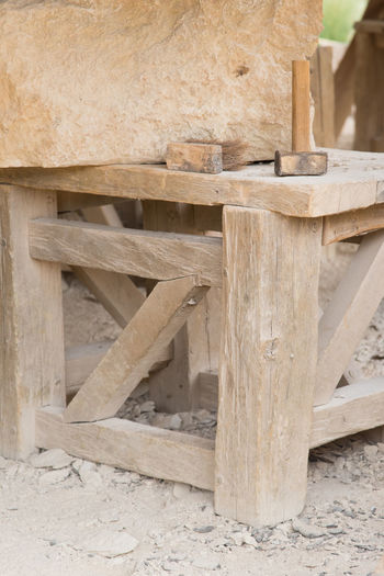 Architecture Built Structure Close-up Construction Industry Construction Site Day Focus On Foreground Forest Hammer Land Log Nature No People Outdoors Pattern Stone Stone Material Stonemason Stonemason Art Stonemasonry Textured  Timber Tree Wood Wood - Material