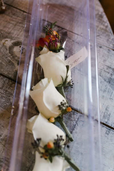 Wedding Bouquet Above The Clouds Barn Wedding Boutineers Close-up Flower Flowers Indoors  Rustic Wedding Flowers