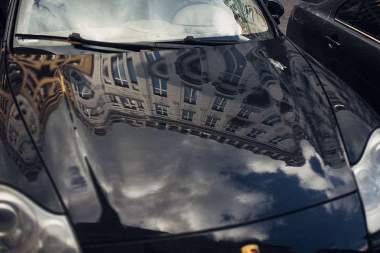 Low angle view of car against sky