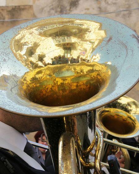 Tuba, possessed by H. Bosch, I Misteri di Trapani 2017 Gold Colored Brass Instruments Music Pasqua Sicily Sicilia Misteri Trapani Parade Endurance Reflections Surrealismo Musical Instrument Close-up