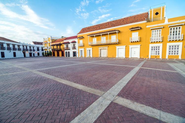 Buildings at plaza de la aduana against sky