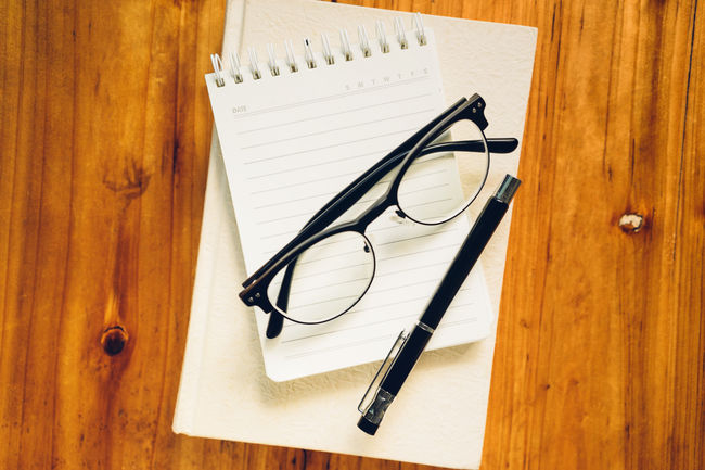 Blank Book Close-up Communication Directly Above Eyeglasses  Glasses High Angle View Indoors  No People Notebook Paper Pen Still Life Table White Color Wood - Material Writing Instrument