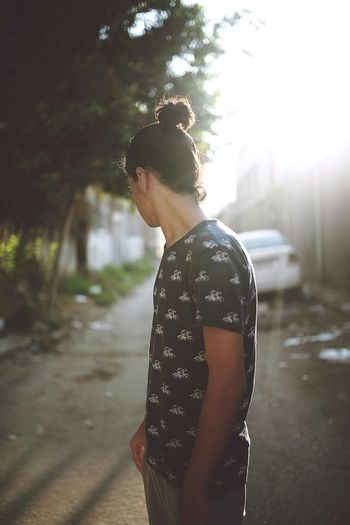 Casual Clothing Standing Outdoors Sky Side View Day People One Person Manbun