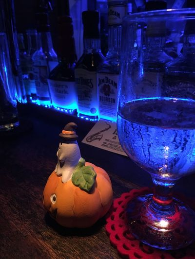 I am wondering if I want to cosplay for this Halloween. ...I might go for drinks.lol Halloween Jackolanterns Pumpkin Ghost Trickortreat Cosplay Bar Bar Counter No People Alcohol Whiskey Whisky Drink Drinking Glass Koza