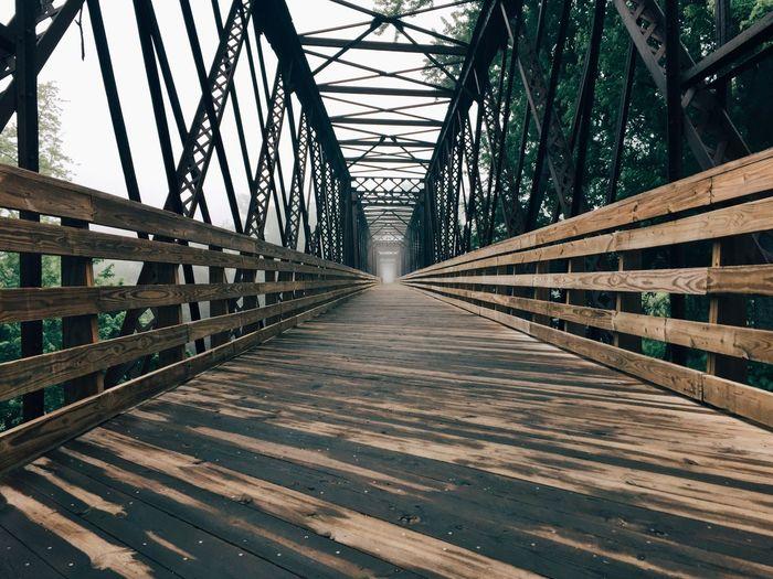 Empty Wooden Footbridge