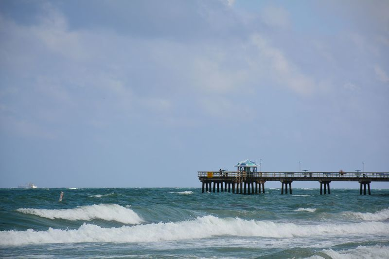 Anglin's fishing pier, Lauderdale-by-the-sea, Florida Sea Horizon Over Water Water Beach Outdoors Day Built Structure Architecture Pier Lauderdale By The Sea Fishing Pier Ocean