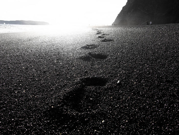Footsteps In The Sand Footsteps Iceland_collection Perspectives On Nature Beauty In Nature EyeEmNewHere Sand & Sea Blackandwhite
