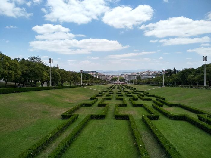 Green Blue Lisboa Viewpoint Portugal Forced Perspective Clouds Sky City Urban Tree Sky Grass Cloud - Sky Green Color Parallel Cityscape City Location Residential District Settlement Building Urban Scene