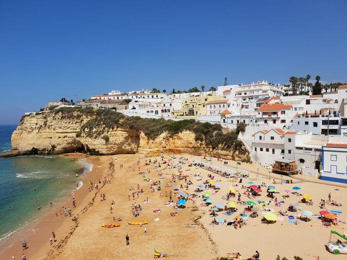 Carvoeiro Clear Sky Water Sea Multi Colored Beach Summer Blue Sand Sunny City