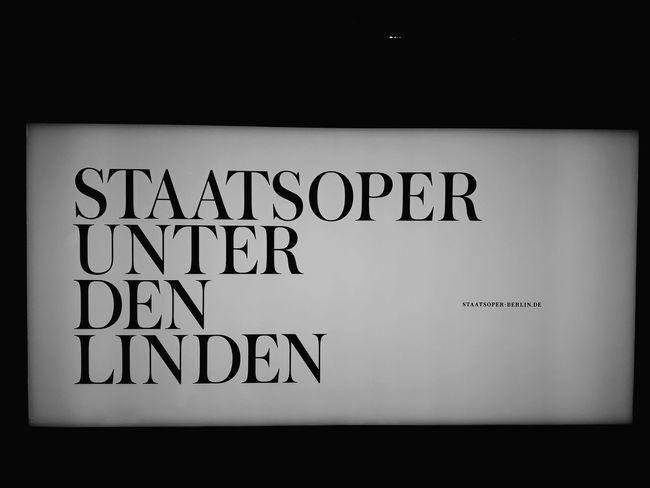 Schild Staatsoper Berlin White Night Nightphotography Light Schild Staatsoper Berlin Western Script Text Communication No People Close-up Indoors