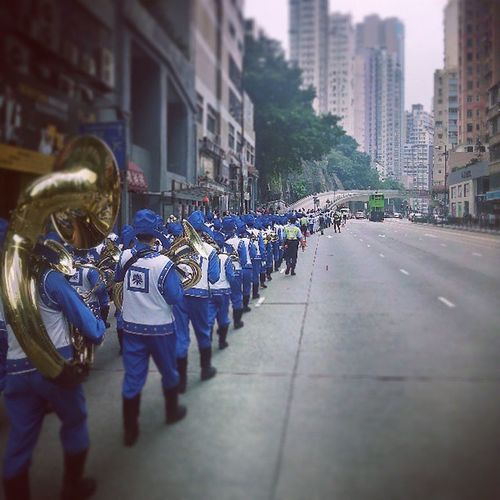 This Falungong demonstration being led by the Smurfs parade band! HongKong Hk