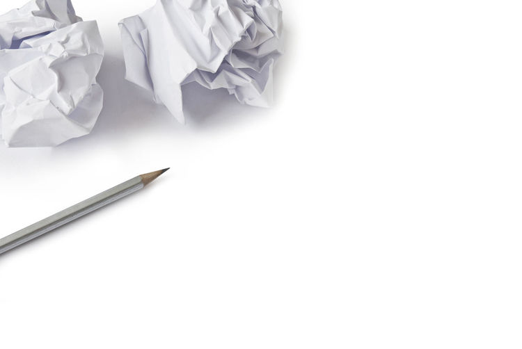 High angle view of pen against white background