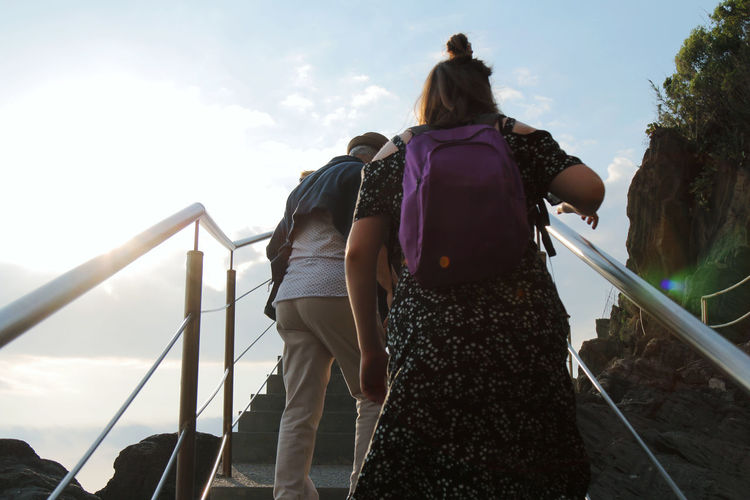 Rear view of friends standing on railing against sky
