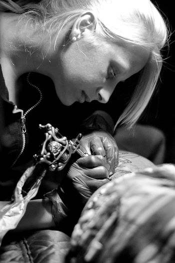 Tattoo Tattoos Women People Tattooed Lifestyles Real People Tattoo ❤ Blackandwhite Black And White Black & White Selective Focus Casual Clothing Leisure Activity Girls Young Women Black And White Photography Sashalmi Painting Paint Taking Photos Art ArtWork EyeEm Gallery Creativity